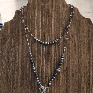Silpada Gray Glass Bead Necklace